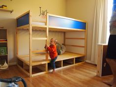 Cool IKEA Kura Beds Ideas For Your Kids' Rooms IKEA Kura bed is a great loft bed, it is recommended for 6 years and older. Slatted bed base is include Bed Slats, New Beds, Girls Bedroom, Childs Bedroom, Kid Bedrooms, Lego Bedroom, Bunk Beds, Storage Drawers, Bed Storage
