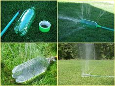 Upcycled Pet Bottle Garden Sprinkler, can't wait to do this for my Newf! Reuse Plastic Bottles, Recycled Bottles, Plastic Canisters, Diy Projects On A Budget, Outdoor Projects, Outdoor Areas, Outdoor Fun, Diy Jardin, Garden Sprinklers