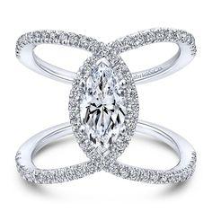 Diamond halo engagement ring set in white gold at Gabriel & Co Engagement Ring Shapes, Halo Diamond Engagement Ring, Engagement Ring Settings, Vintage Engagement Rings, Marquise Ring, Marquise Cut, Bling Bling, Ring Designs, Wedding Rings For Women