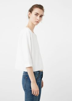 Rolled-up sleeves t-shirt - T-shirts for Woman | MANGO United Kingdom