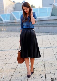 Jean jacket (a definite) and knee-length skirt in a nice blue = Great!
