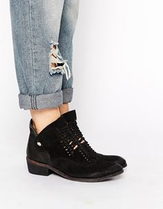 Enlarge H by Hudson Peak Black Suede Woven Ankle Boots