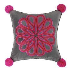 Carillo Embroidered Cotton Throw Pillow