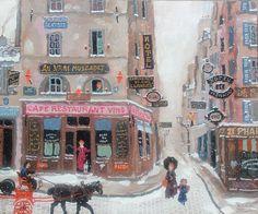 Michel Delacroix Michel Delacroix, Delacroix Paintings, Snowy Day, Arte Popular, Naive Art, Image Photography, Illustration Art, Illustrations, Art Images