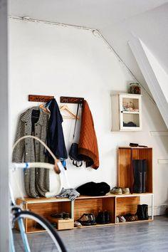 interior, hous, hallway, crate, winter coats