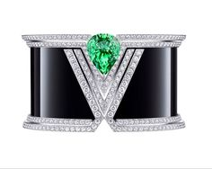 "18k white gold, onyx, tsavorite & diamond ""acte v"" cuff bracelet // louis vuitton"