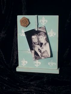 """Cute Handmade Robin Egg Blue and White Fleur de Lis stamped 8"""" x 10 1/2"""" picture frame with burlap flower. $15. See me at Texas Tin Works on Facebook also."""