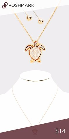 "Turtle Pendant Necklace + Earring Set • Color : Rose Gold  • Theme : Animal, Sea Life, Turtle  • Necklace Size: 16"" + 3"" L • Decor Size : 0.3"" X 0.3""  • Earring Size : 0.2"" L • Material : Lead and nickel compliant • Faux Druzy Turtle Pendant Necklace Jewelry Necklaces"