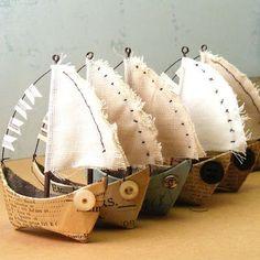 bateaux : papier, tissu, fil de fer : Idée à exploiter
