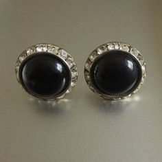 Vintage Black Lucite & Rhinestone Earrings Channel by baublology #ecochic #vintageblackearrings