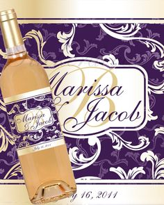 Personalized Wine Label, Purple and Gold Ornate Decorative by StickerDivas
