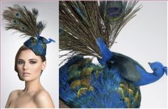 PEACOCK:    Peacock Bird Headpiece Seated On Top Of An Oval Pillbox Covered With Iridescent Green/Turquoise/Blue Peacock Feathers.