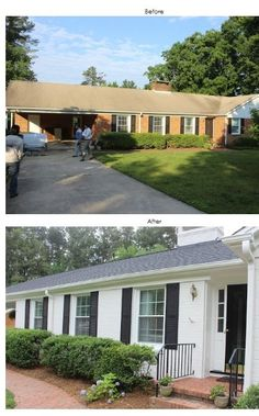 brick house painted before and after