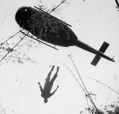 Helicopter raising a US casualty during the Vietnam war. 1966