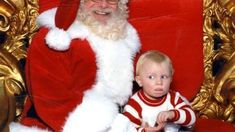 Little boy uses sign language to call for help while on Santas lap #signlanguageforbabies