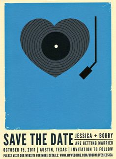 Music makes my heart beat - save the date and invitation idea for a music inspired wedding.