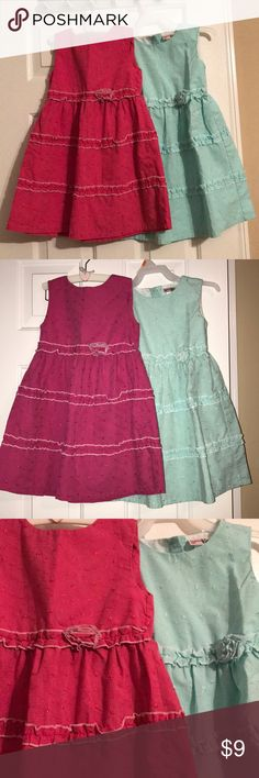 Girl's eyelet dresses size 5 Both in very good condition  Pick a color or both for $15 lemon kiss Dresses Casual