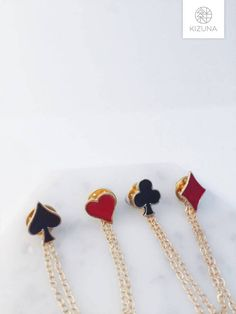 Playing cards collar pins clubs spades hearts diamonds