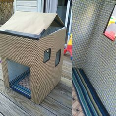 Found a cheap rug and self- adhesive contact paper for carpet and wallpaper!  Now I just need something for the roof. #homemade #mommade #tinyhouse #playhouse by axorca