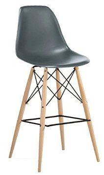 Molded Plastic Eiffel Counter Stool with Dowel Legs - Grey