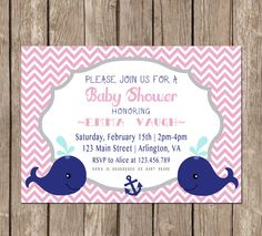 GIRL Nautical Theme Baby Shower Invitation by SweetEventsBoutique