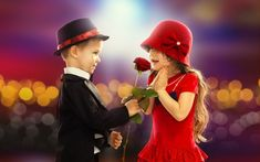 Small Cute Couple With Red Rose Wallpaper