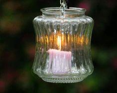 Vintage glass wedding lantern, candleholder