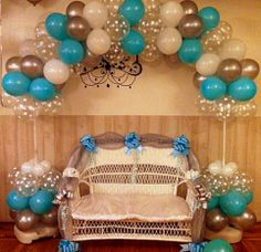 Tiffany Blue and Polka Dot Balloon arch with Loveseat
