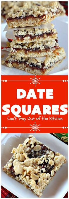 Date Squares - - A luscious date filling is sandwiched between a wonderful oatmeal streusel crust and topping in these tasty treats. They're rich, sweet and sensational! Terrific for holiday and Christmas baking and for Christmas Cookie Exchanges. Mini Desserts, Holiday Baking, Christmas Desserts, Christmas Baking, Vegan Desserts, Delicious Desserts, Christmas Cookies, Christmas Buffet, The Oatmeal