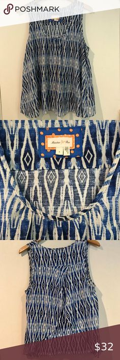 """MEADOW RUE MERLIN IKAT SPLIT BACK TANKIkat blue & Ikat blue & white diamond print sleeveless blouse Scoop neck split back Top layer is a chiffon-like poly and the bottom layer is a cotton blend Excellent condition! Size Large Shoulder to hem 27"""" Armpit to Armpit 20"""" Anthropologie Tops Blouses"""