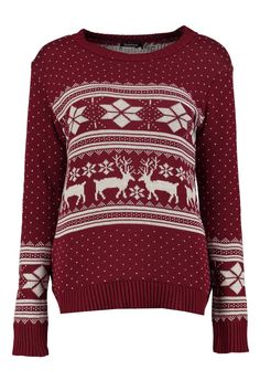 pull de noël jacquard rennes | Boohoo Sequin Sweater, Polo Neck, Pulls, Must Haves, Night Out, Christmas Sweaters, Knitwear, Jumper, Knitting