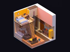 Single apartment designed by Boger for RED. Connect with them on Dribbble; Isometric Drawing, Isometric Design, Bg Design, Interior Design, Game Design, Modelos Low Poly, Home Room Design, House Design, Single Apartment
