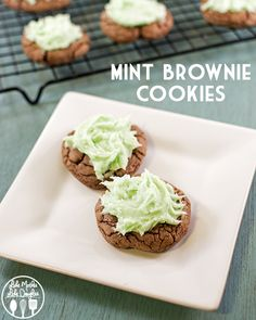 These mint brownie cookies couldn't be much easier. They're made with a simple brownie mix and a couple extra ingredients, topped with a divine minty frosting. You'll love them! #lmldfood