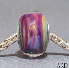 Purple Mauve & Yellow Handmade Lampwork Glass by AKDlampwork, $24.00