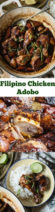 Delicious one pot chicken with carrots and potatoes in a rich and flavourful Filipino Adobo sauce.
