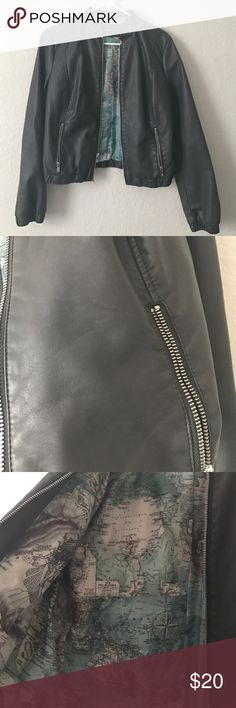 Moto pleather jacket black rivet moto jacket, dark gray. Worn once. Really cute and stylish. Zip up. *NOT LISTED BRAND ONLY FOR EXPOSURE** Aldo Jackets & Coats Utility Jackets