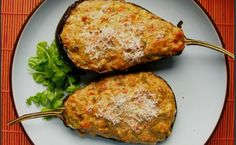 Stuffed Eggplant (Aubergine) by The Purple Foodie - with ham or sausage Greek Recipes, Indian Food Recipes, Ethnic Recipes, Snack Recipes, Cooking Recipes, Healthy Recipes, Snacks, Meals Without Meat, Grain Foods