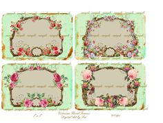 Victorian Floral Frames   Printable Digital by CountryAtHeart2008, $4.99