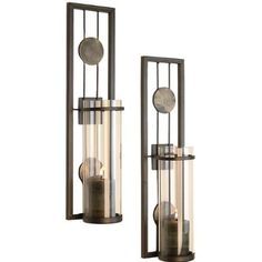 "Amazon.com: Contemporary Metal Candle Sconce Set - 2 Pc: 16""Hx4""Dx3.5""W"