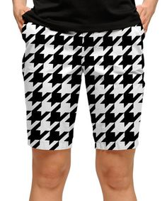 Love this Black & White Houndstooth Bermuda Shorts - Women by Loudmouth Golf on #zulily! #zulilyfinds