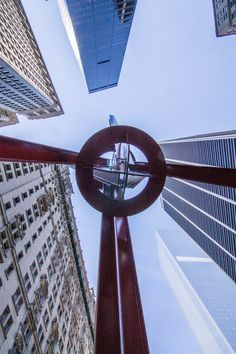 Underneath Joie de Vivre (English: Joy of Life) - an outdoor sculpture by Mark di Suvero, located at Zuccotti Park in the Financial District of Lower Manhattan, New York City (08/24/2016)