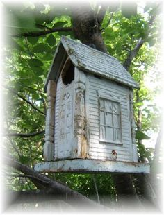 A lovely old birdhouse. I can not believe I found a old birdhouse just like this one at a estate sale today. The man gave it to me free.
