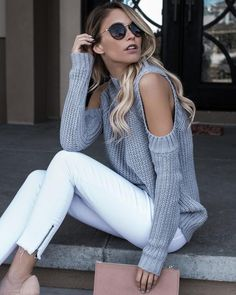 cold shoulder knit top and white skinnies
