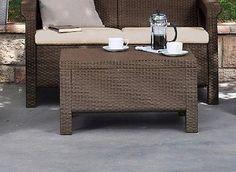 Outdoor Patio Coffee Table Modern Backyard Furniture Garden Dining Indoor Brown