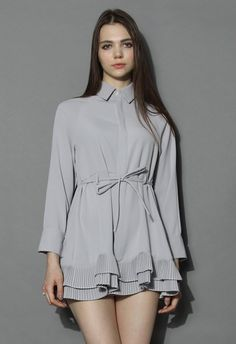 Pleated Ruffles Flare Shirt Dress in Grey - Dress - Retro, Indie and Unique Fashion