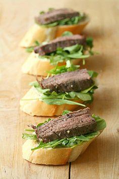 Flank Steak Crostini with Horseradish Aioli
