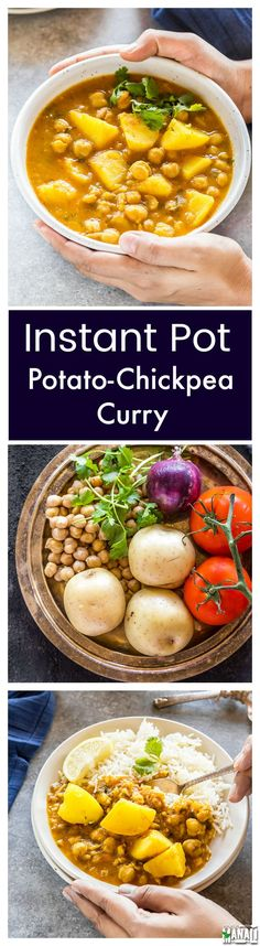 Potato & Chickpea Curry made in the Instant Pot. An easy weeknight feel which is also vegan and gluten-free. Best enjoyed with rice! Curry Recipes, Vegetarian Recipes, Cooking Recipes, Healthy Recipes, Vegan Meals, Crockpot Recipes, Vegan Food, Easy Recipes, Instant Pot Pressure Cooker