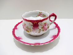 Antique Mustache Cup & Saucer Pink Roses by GsEclecticAttic