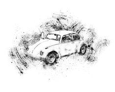 Volkswagen Beetle 1968 White pohyblivý animovaný obrázek gif animace Animated Scribble zdarma stažení Volkswagen, Beetles, Scribble, Animation, Girls, Toddler Girls, Daughters, Maids, Doodles