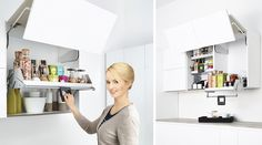 O sistema basculante iMove para prateleiras facilita o acesso aos itens que frequentemente são guardados fora do nosso alcance